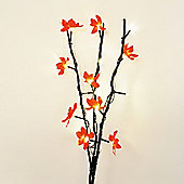 Battery Operated LED Twigs in Black with Red Flowers