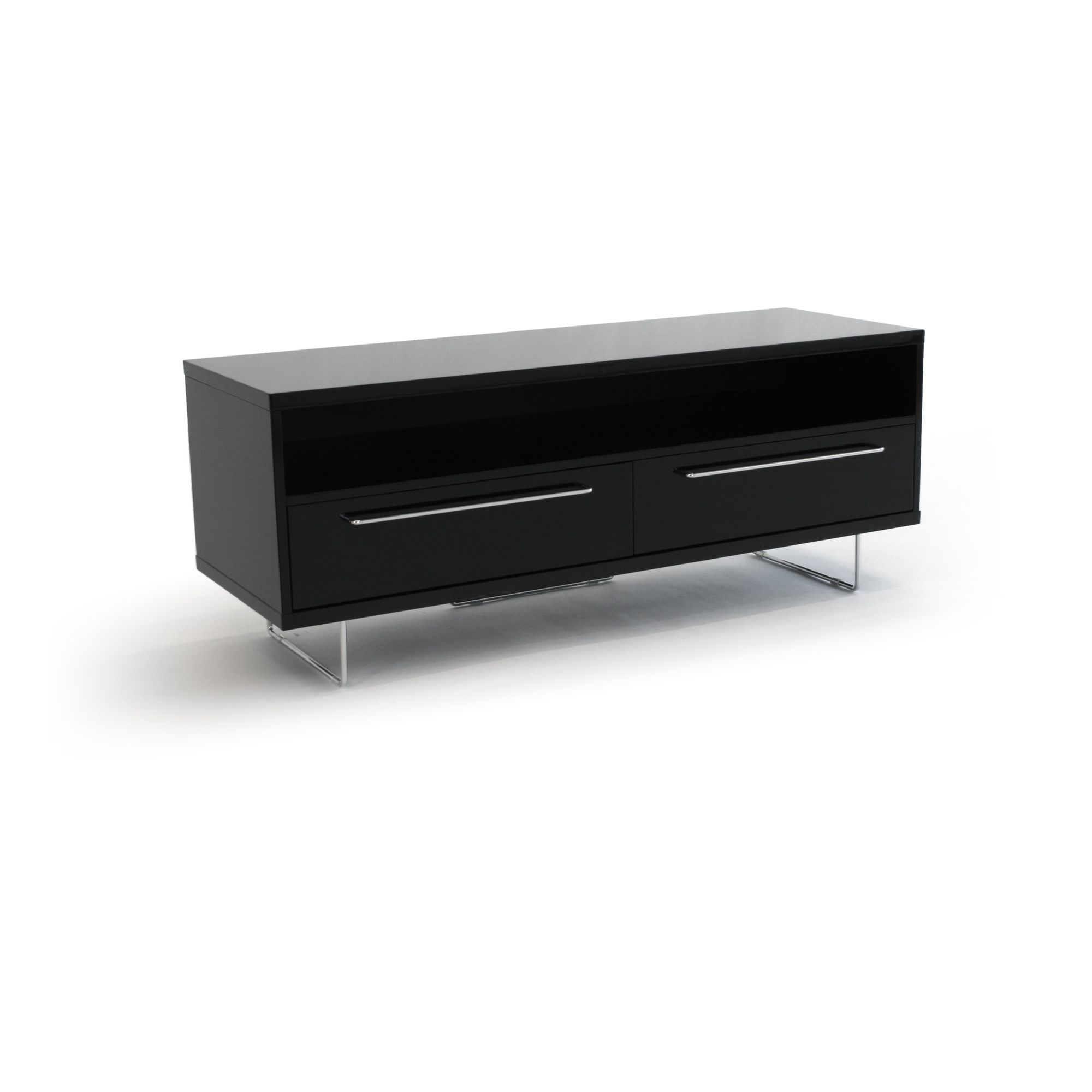 RGE Lago 2 Drawers Multi-Media TV Storage and Display Unit - Lacquer Black High Gloss at Tesco Direct
