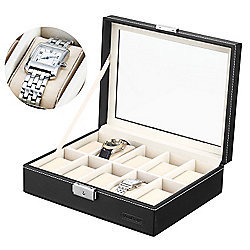 VonHaus Black Faux Leather Watch Display Box for 10 Watches