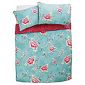 Tesco Traditional Flowers Duvet Cover And Pillowcase Set, Double
