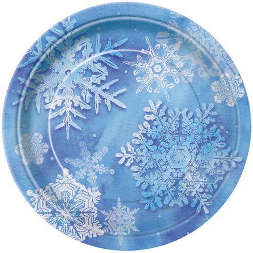 Snowflakes Party Paper Dessert Plates 17cm