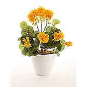 Artificial 38cm Golden Yellow Cascade Zonal Geranium Plug Plant