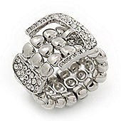 Wide Silver Plated Swarovski Crystal 'Belt' Flex Ring - Adjustable
