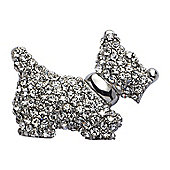 Rhodium Plated Crystal Scottie Dog Brooch
