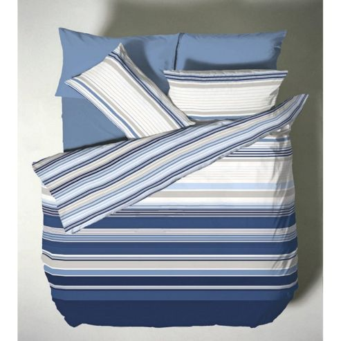 Catherine Lansfield Home Designer Collection Ross Stripe Double Bed Duvet Cover Set Nautical