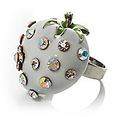 White Enamel Strawberry Ring