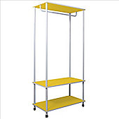 Candie - Open Wardrobe / Clothes Storage Rail - Yellow / White