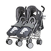 Tiny Tatty Teddy Deluxe Twin Stroller with Footmuffs - Denim