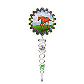 Iron Stop Animated Horse Crystal Twister Wind Spinner