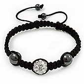 Hematite & Clear Swarovski Crystal Beaded Shamballa Bracelet - Adjustable - 12mm Diameter