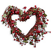Large Heart Shaped Christmas Wreath with Artificial Shaped Berries & Green Leaf