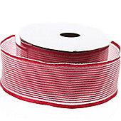 Ribbon Organza Stripe Sheer Ribbon - Burgundy -25m