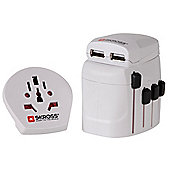 SKROSS World Travel Adapter Pro + USB (Connect 2- and 3-pole devices)