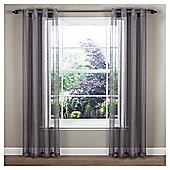 "Marrakesh Voile Eyelet Single Curtain W137xL122cm (54x48""), - Grey"