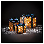 Silver And Blue Light Up Parcels, Set of 3