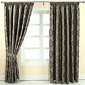"Homescapes Grey Jacquard Curtain Modern Curve Design Fully Lined - 90"" X 90"" Drop"