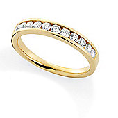Jewelco London 18ct Yellow Gold - Diamond - 0.50ct Brilliant-cut Half Eternity Ring -