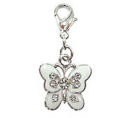 White Diamante Butterfly Clip on Charm