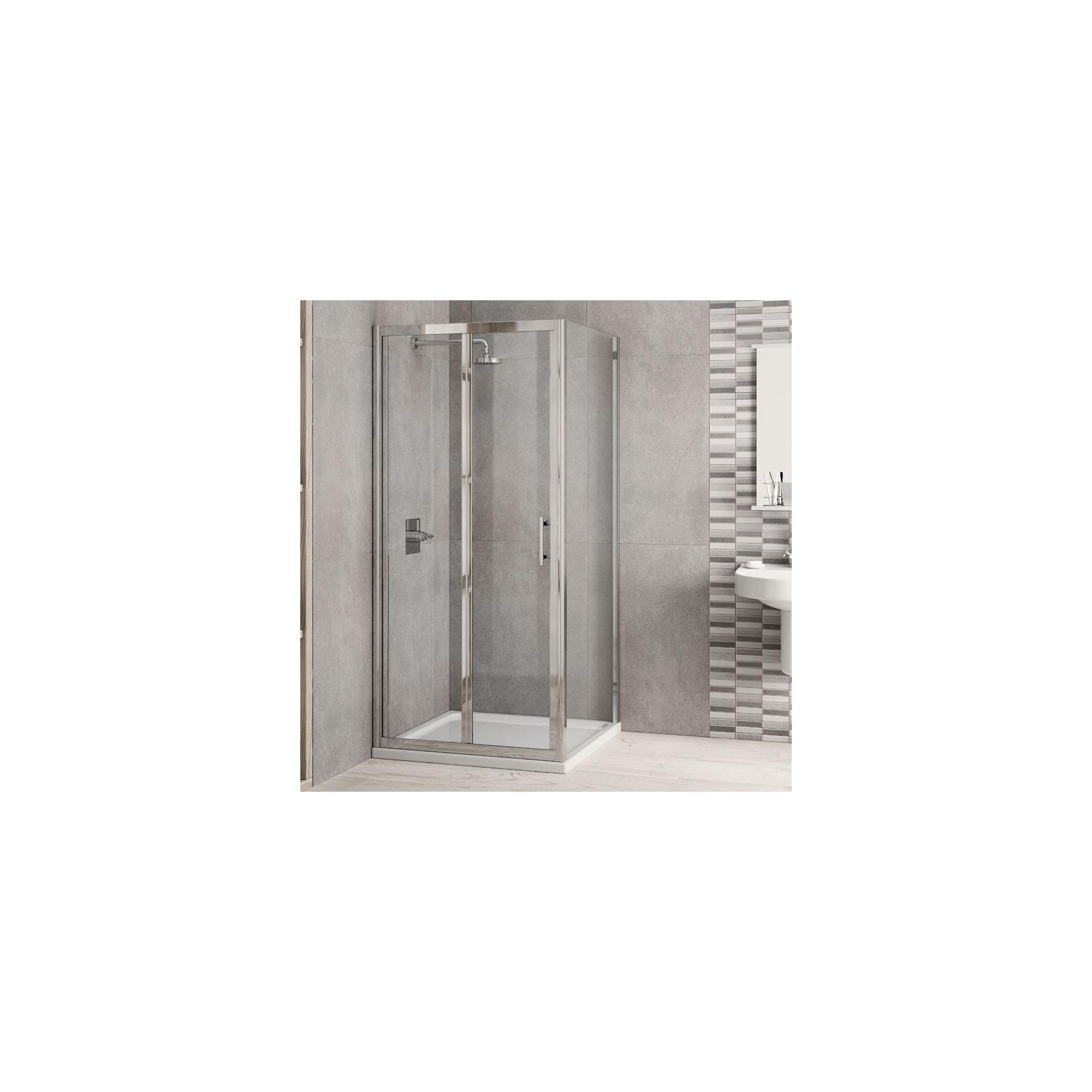Elemis Inspire Bi-Fold Door Shower Enclosure, 760mm x 760mm, 6mm Glass, Low Profile Tray at Tesco Direct