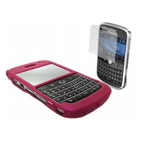 iTALKonline Screen Protector, Cleaning Cloth and Hybrid Case Pink - For BlackBerry 9000 Bold