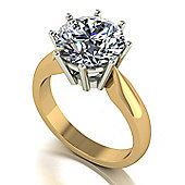 18ct Gold 10mm Round Brilliant Moissanite Single Stone Ring.