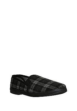 F&F Checked Closed Back Slippers - Grey & Black