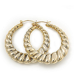 Gold Tone Lightweight Puffed Hoop Earrings - 4.5cm Diameter