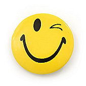 Happy Winking Face Lapel Pin Button Badge - 3cm Diameter