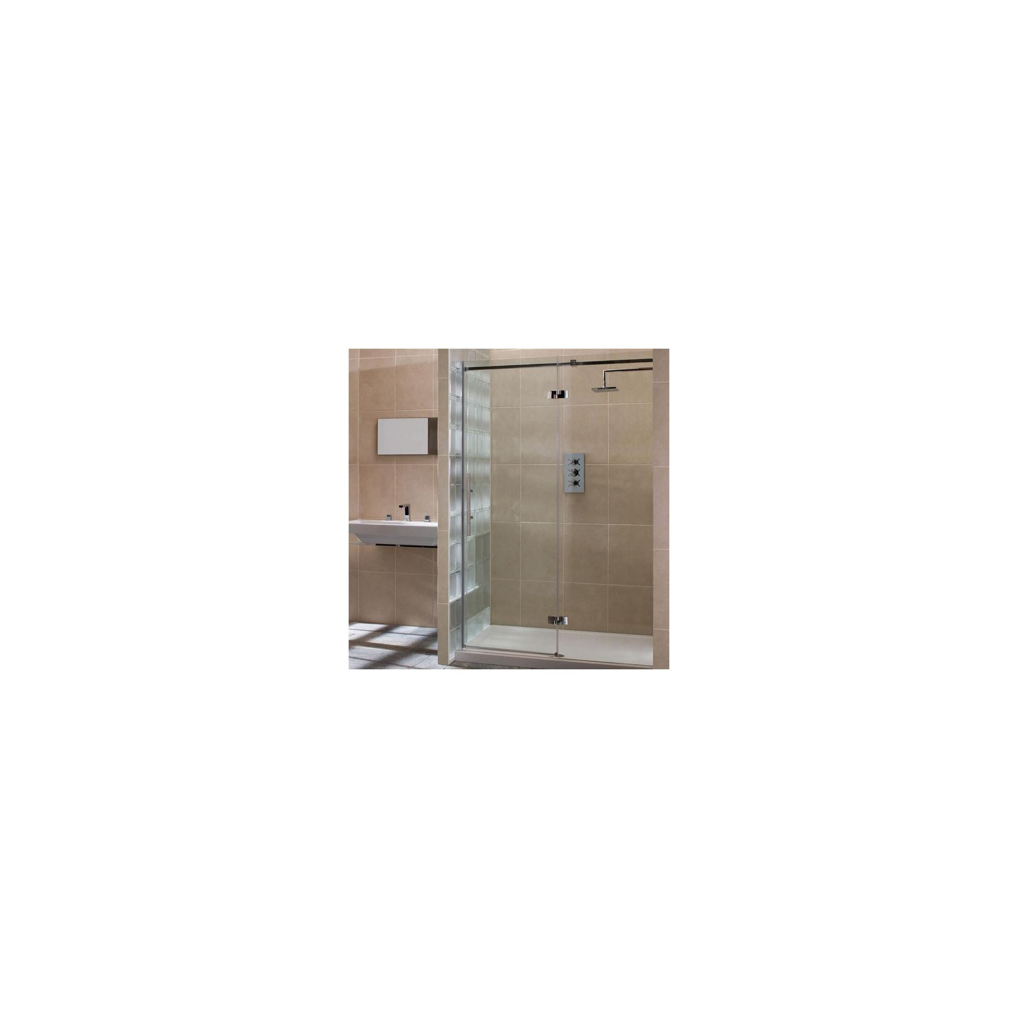 Merlyn Vivid Nine Hinged Door Alcove Shower Enclosure with Inline Panel, 1600mm x 800mm, Right Handed, Low Profile Tray, 8mm Glass at Tesco Direct