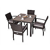 Apollo 4 Seater Square Rattan & Plaswood Set With Arm Chairs - Outdoor/Garden table and Chair set.