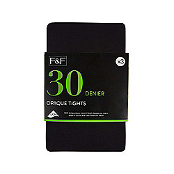 F&F 3 Pack of Opaque 30 Denier Tights S Black
