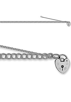 Jewelco London Sterling Silver double curb charm Charm Bracelet - 4mm gauge