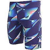 Speedo Allover Digital Mens Swimming Jammer Trunk Short Navy Blue - Blue