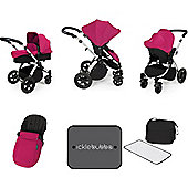 Ickle Bubba Stomp V3 AIO Travel System/Mosquito Net Pink (Silver Chassis)