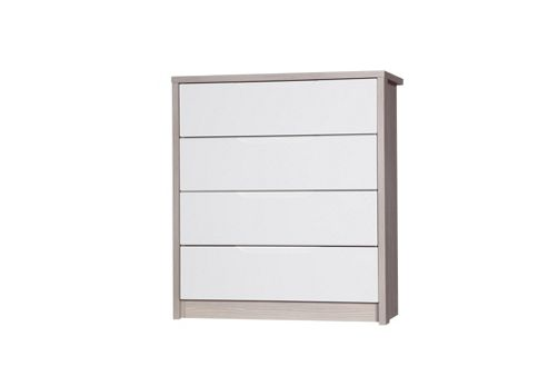 Alto Furniture Avola 4 Drawer Chest - Champagne Avola With Cream Gloss
