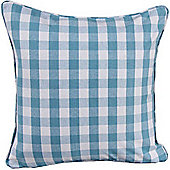 Homescapes Cotton Block Check Blue Scatter Cushion, 45 x 45 cm