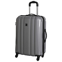 IT Luggage Hard Shell 4-Wheel Suitcase, Silver Medium