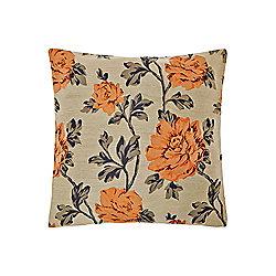 Linea Floral Jacquard Cushion, Rust - Orange