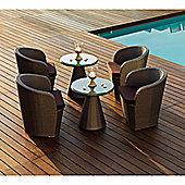 Varaschin Gardenia Chair by Varaschin R and D - Dark Brown - Panama Azzurro