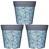 3 x 22cm Blue Geometric Plastic Garden Planter 5L Flowerpot by Hum
