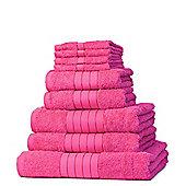 Dreamscene Luxury Egyptian Cotton Towel Bale 9 Piece Set - Fuchsia