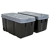 Wham Tough Cart Plastic Storage Boxes - 2 Pack - Black