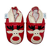 Dotty Fish Soft Leather Baby Shoe - Red Rudolph the Reindeer for Christmas - Red