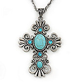 Antique Silver Turquoise Style 'Cross' Pendant Necklace - 40cm Length/ 4cm Extension