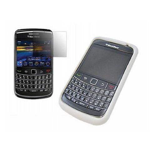 White Silicone Case + LCD Screen protector and Cleaning Cloth - BlackBerry 9700 Bold, 9780 Onyx