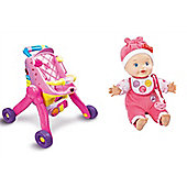 Vtech Bundle - Vtech Little Love 3-In-1 Pushchair Pink And Vtech Little Love Baby Talk Doll - 2 Items Supplied