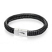 Mens Fred Bennett Square Steel Clasp Leather Bracelet 21.5cm