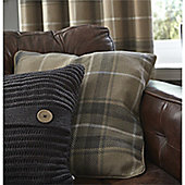 Catherine Lansfield Brushed Heritage Grey Check Cushion Cover - 55x55cm