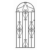 Wrought Iron Style Metal Scroll Tall Bow Top Side Garden Gate 84cm GAP x 179cm HIGH