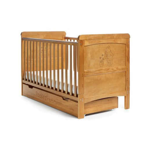 Disney Winnie the Pooh Cot Bed & Under Drawer - Country Pine
